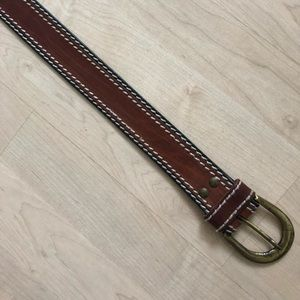 Authentic leather belt with stiching